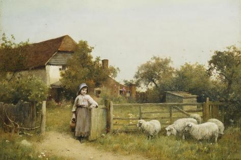 Young Girl with Sheep, by a Cottage Giclée-Druck