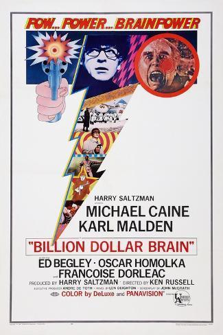 Billion Dollar Brain, Michael Caine, Ed Begley, 1967 Kunstdruck