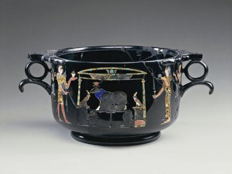 Black Obsidian Bowl Depicting Egyptian Style Offering Scene, from Stabile, Villa San Marco Giclée-Druck