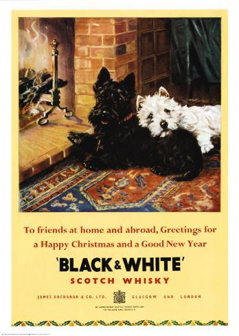 Black And White Dogs Whisky Poster