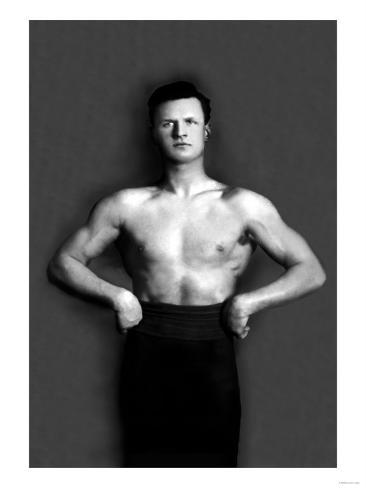 Bodybuilder in Pants with Bared Torso Kunstdruck