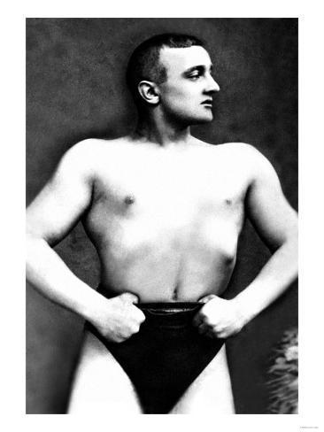 Bodybuilder with Thumbs Tucked in Belt Kunstdruck