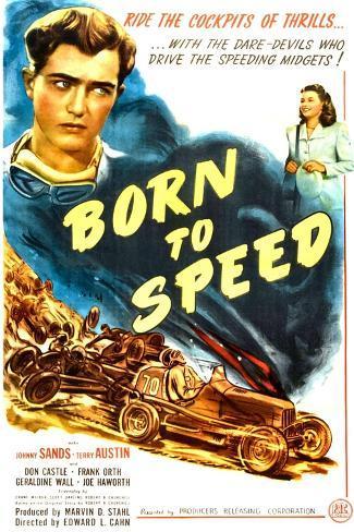 Born to Speed, Johnny Sands, Vivian Austin on poster art, 1947 Kunstdruk