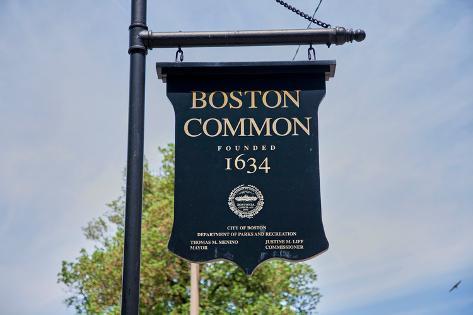 Boston Common park sign, Boston, MA Fotografie-Druck
