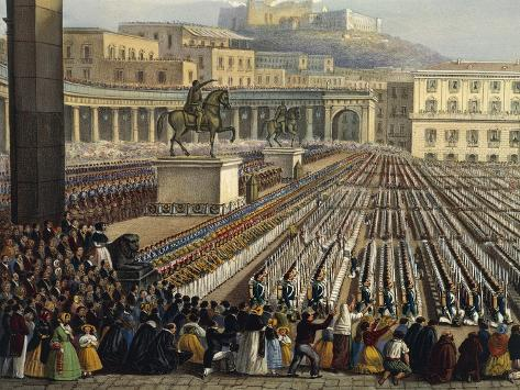 Bourbon Troops Deployed in Piazza Reale in Naples Giclée-Druck
