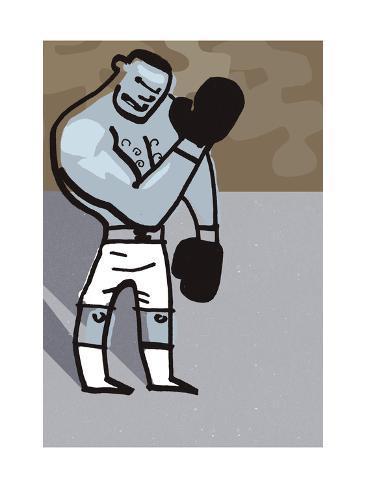 Boxer Cartoon Kunstdruck