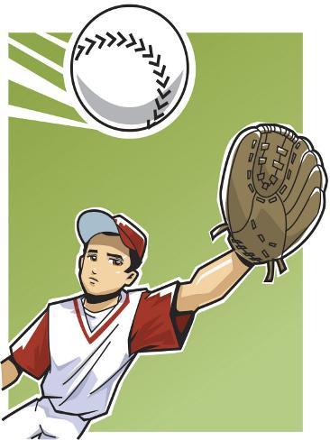 Boy Reaching Out to Catch Baseball Foto