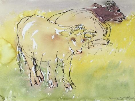 Young Bullocks in the Meadow, 1983 Giclée-Druck