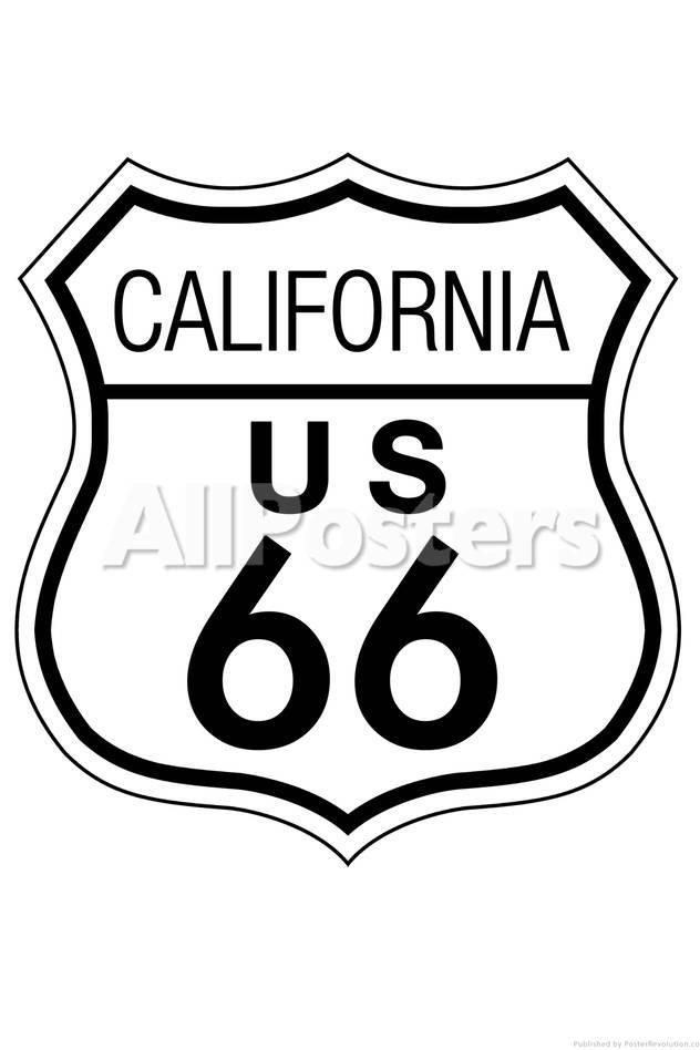 California Route 66 Sign Art Poster Print Print Bij Allposters