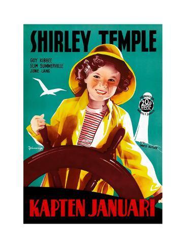 Captain January, (aka Kapten Januari), Shirley Temple on Swedish Poster Art, 1936 Giclée-Druck
