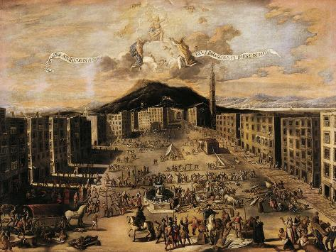Market Square During Plague of 1656, Naples Giclée-Druck