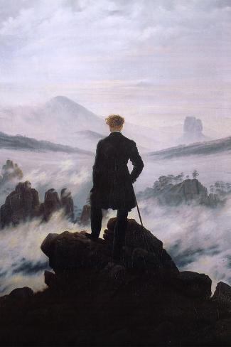 Der Wanderer über dem Nebelmeer Poster