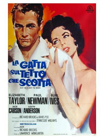 Cat on a Hot Tin Roof, Italian Movie Poster, 1958 Kunstdruck