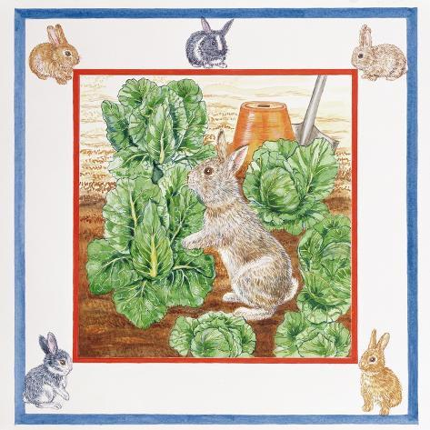 A Rabbit in the Cabbage Patch Giclée-Druck