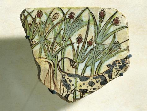 Ceramic Fragment Depicting Calf Running Among Papyrus Plants Giclée-Druck