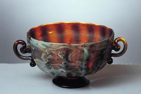 Chalcedon Glass and Goldstone Cup, Murano Glass Factory, Venice, Italy, 16th-17th Century Giclée-Druck
