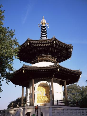 Japanese Peace Pagoda, Battersea Park, London, England, United Kingdom Fotografie-Druck