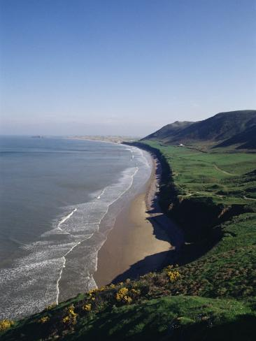 Looking from the Cliffs at Rhossili, Towards Llangennith at Far West of the Gower Peninsula, Wales Fotografie-Druck