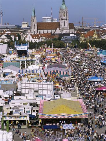Oktoberfest from Above, Munich, Bavaria, Germany Fotografie-Druck