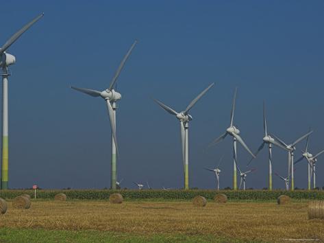 Wind Turbines, Lower Saxony, Germany Fotografie-Druck