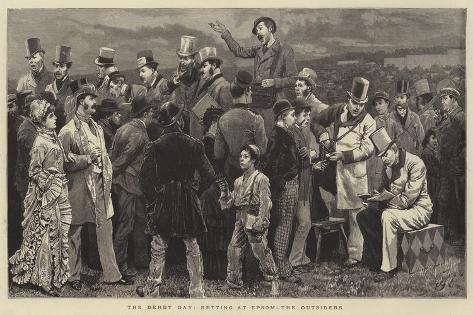 The Derby Day, Betting at Epsom, the Outsiders Giclée-Druck