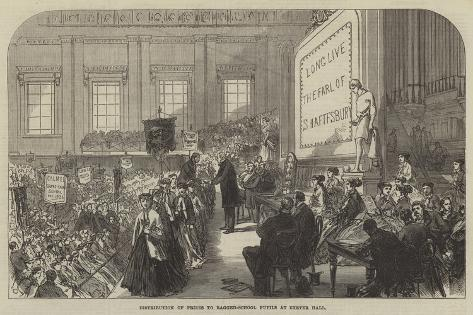 Distribution of Prizes to Ragged-School Pupils at Exeter Hall Giclée-Druck