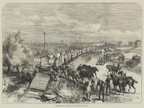Embarkation of Artillery in Railway Trains in India Giclée-Druck