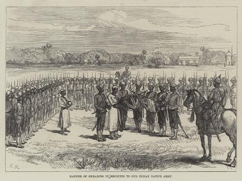 Manner of Swearing in Recruits to Our Indian Native Army Giclée-Druck