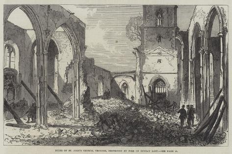 Ruins of St John's Church, Croydon, Destroyed by Fire on Sunday Last Giclée-Druck