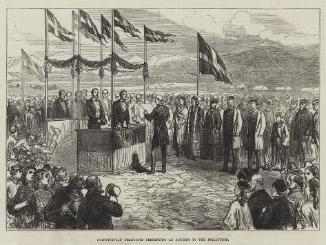 Scandinavian Delegates Presenting an Address to the Icelanders Giclée-Druck