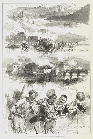 The Civil War in Spain, Sketches from the Battle of Beobia Giclée-Druck