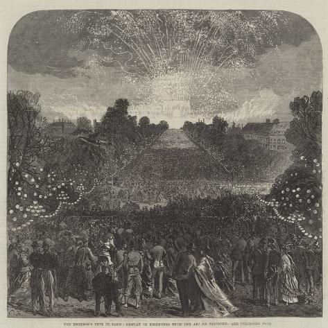 The Emperor's Fete in Paris, Display of Fireworks from the Arc De Triomphe Giclée-Druck