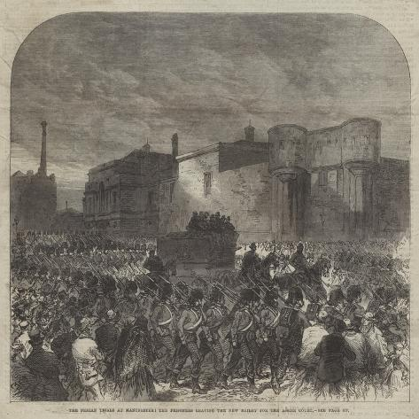 The Fenian Trials at Manchester, the Prisoners Leaving the New Bailey for the Assize Court Giclée-Druck