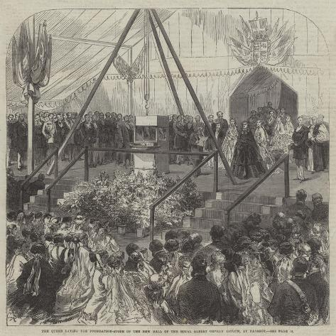 The Queen Laying the Foundation-Stone of the New Hall of the Royal Albert Orphan Asylum, at Bagshot Giclée-Druck