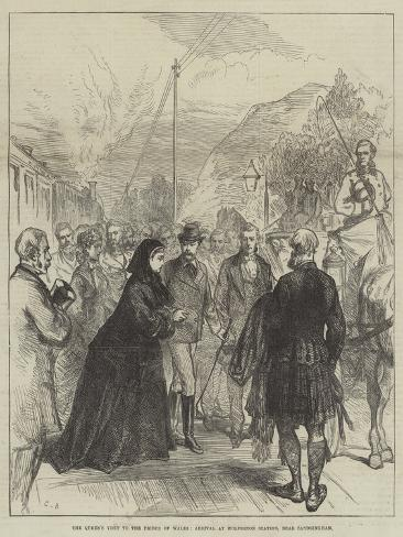 The Queen's Visit to the Prince of Wales, Arrival at Wolferton Station, Near Sandringham Giclée-Druck