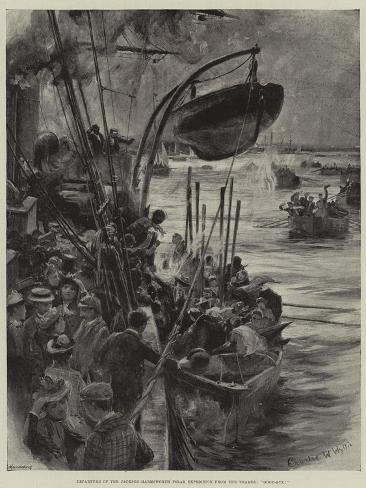 Departure of the Jackson-Harmsworth Polar Expedition from the Thames, Good-Bye! Giclée-Druck