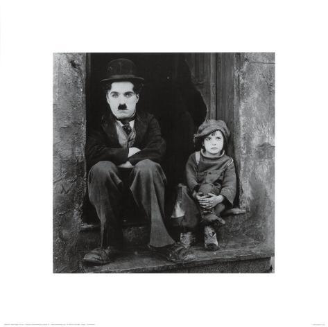 Charlie Chaplin im Film The Kid Kunstdruck