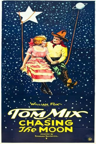 Chasing The Moon, Eva Novak, Tom Mix on US insert poster, 1922 Kunstdruck