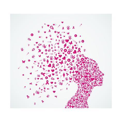 Breast Cancer Awareness Ribbon Womans Head Poster Van Cienpies