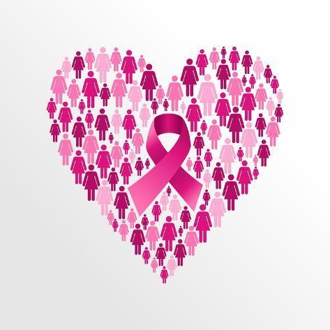 Breast Cancer Awareness Ribbon Women Heart Shape Posters Van