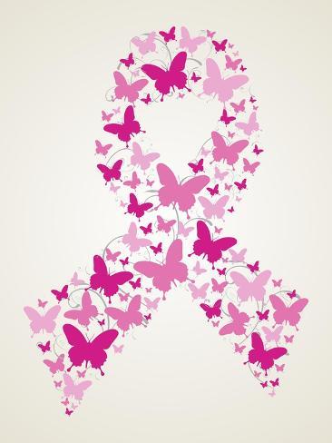 Butterfly In Breast Cancer Awareness Ribbon Print Van Cienpies Bij