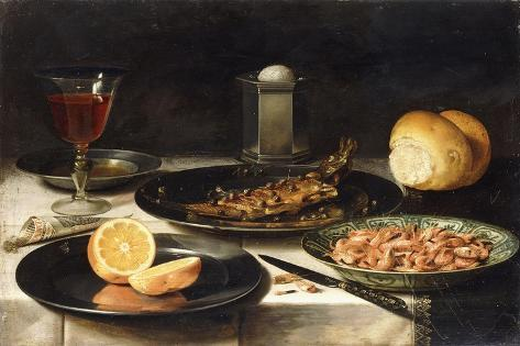A Herring with Capers and a Sliced Orange on Plates and a Bowl of Shrimp on a Table Giclée-Druck