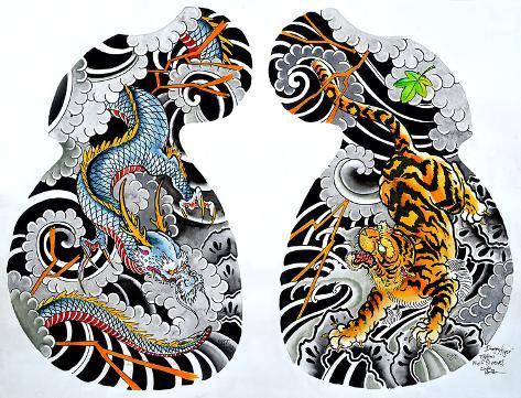 Dragon Tiger Tattoo Half Sleeve Kunst Op Gespannen Canvas Van Clark