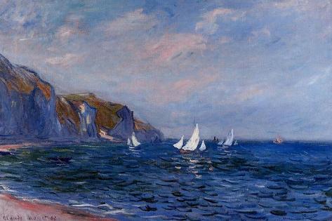 Klippen und Segelboote in Pourville Poster