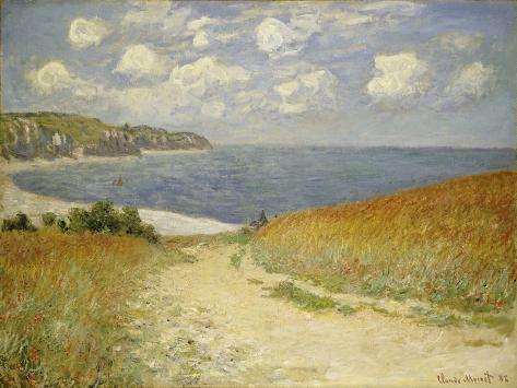 Strandweg zwischen Weizenfeldern bei Pourville, 1882 Giclée-Druck