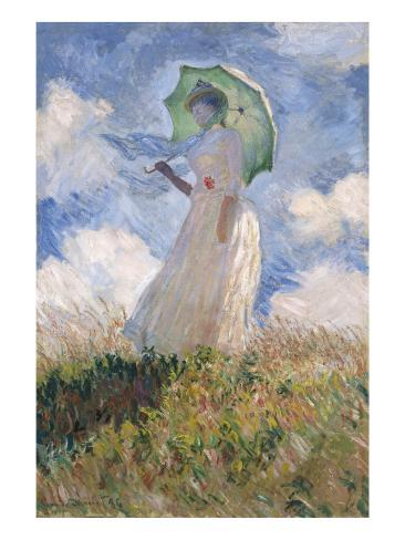 Woman with Parasol Turned to the Left Giclée-Premiumdruck