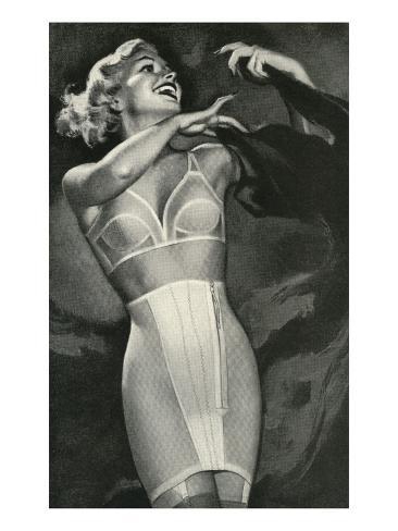 Crazed Woman in Underwear Kunstdruck
