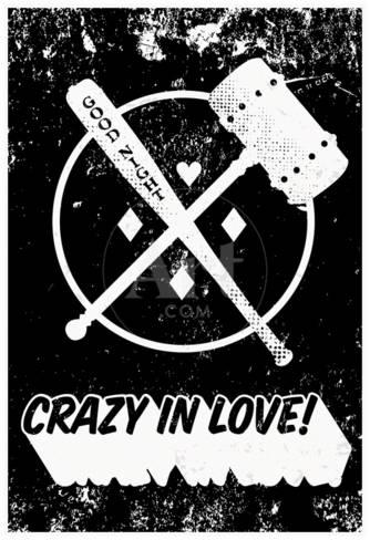 Graphic design art black and white  Crazy In Love! Distressed Black & White Kunstdrucke bei AllPosters.de