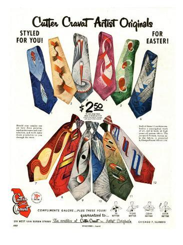 Cutter Cravat, Magazine Advertisement, USA, 1950 Giclée-Druck