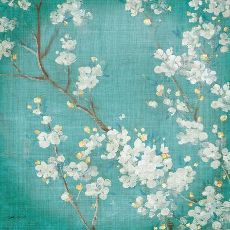 White Cherry Blossoms II on Blue Aged No Bird Kunstdruck